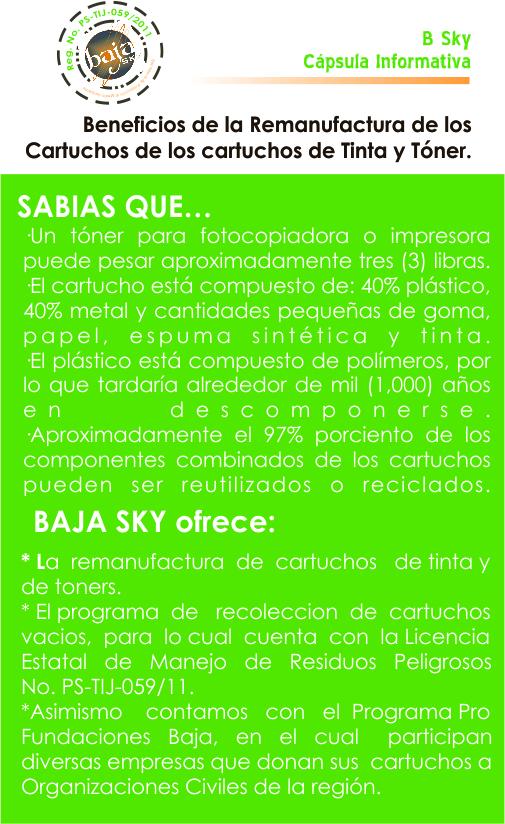 BENEFICIOS REMANUFACTURA  DE CARTUCHOS